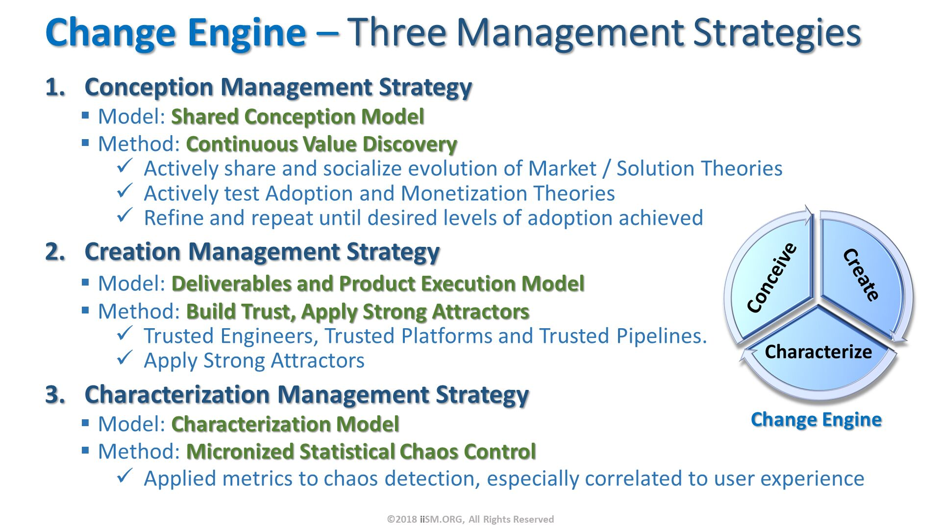 Change Engine – Three Management Strategies. Conception Management Strategy Model: Shared Conception Model Method: Continuous Value Discovery Actively share and socialize evolution of Market / Solution Theories Actively test Adoption and Monetization Theories Refine and repeat until desired levels of adoption achieved Creation Management Strategy Model: Deliverables and Product Execution Model Method: Build Trust, Apply Strong Attractors Trusted Engineers, Trusted Platforms and Trusted Pipelines. Apply Strong Attractors Characterization Management Strategy Model: Characterization Model Method: Micronized Statistical Chaos Control Applied metrics to chaos detection, especially correlated to user experience. ©2018 iiSM.ORG, All Rights Reserved.
