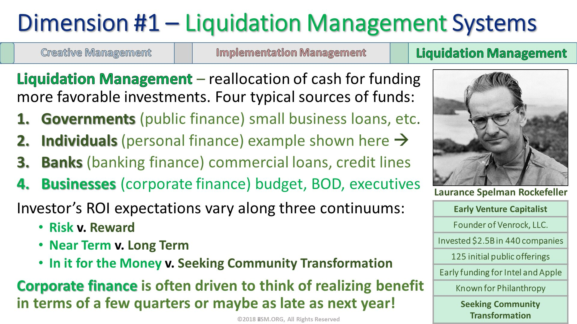 Liquidation Management – reallocation of cash for funding more favorable investments. Four typical sources of funds: Governments (public finance) small business loans, etc.  Individuals (personal finance) example shown here   Banks (banking finance) commercial loans, credit lines Businesses (corporate finance) budget, BOD, executives Investor's ROI expectations vary along three continuums: Risk v. Reward        Near Term v. Long Term  In it for the Money v. Seeking Community Transformation Corporate finance is often driven to think of realizing benefit in terms of a few quarters or maybe as late as next year!. Dimension #1 – Liquidation Management Systems. Laurance Spelman Rockefeller. ©2018 iiSM.ORG, All Rights Reserved.