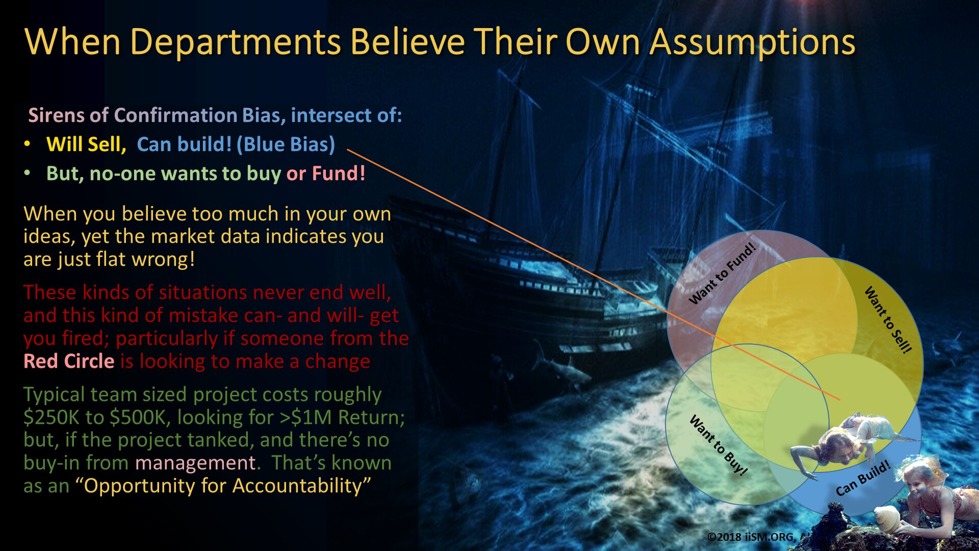 "When Departments Believe Their Own Assumptions.  Sirens of Confirmation Bias, intersect of: Will Sell,  Can build! (Blue Bias) But, no-one wants to buy or Fund! When you believe too much in your own ideas, yet the market data indicates you are just flat wrong! These kinds of situations never end well, and this kind of mistake can- and will- get you fired; particularly if someone from the Red Circle is looking to make a change Typical team sized project costs roughly $250K to $500K, looking for >$1M Return; but, if the project tanked, and there's no buy-in from management.  That's known as an ""Opportunity for Accountability""."
