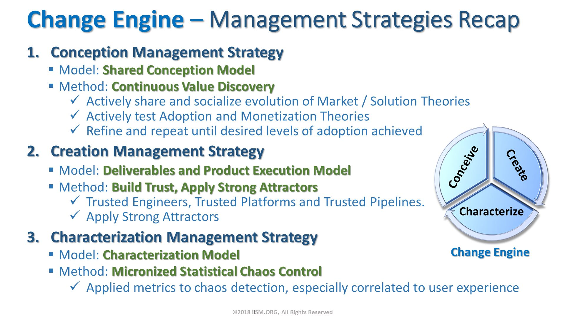 Change Engine – Management Strategies Recap. Conception Management Strategy Model: Shared Conception Model Method: Continuous Value Discovery Actively share and socialize evolution of Market / Solution Theories Actively test Adoption and Monetization Theories Refine and repeat until desired levels of adoption achieved Creation Management Strategy Model: Deliverables and Product Execution Model Method: Build Trust, Apply Strong Attractors Trusted Engineers, Trusted Platforms and Trusted Pipelines. Apply Strong Attractors Characterization Management Strategy Model: Characterization Model Method: Micronized Statistical Chaos Control Applied metrics to chaos detection, especially correlated to user experience. ©2018 iiSM.ORG, All Rights Reserved.